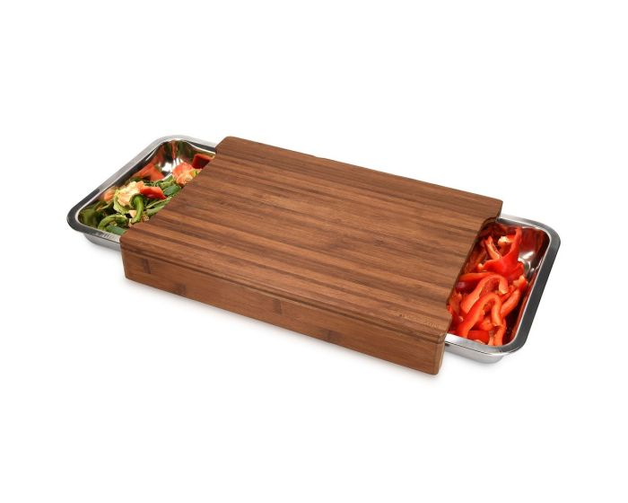 Navaris Chopping Board with Tray (47368.01) Ξύλο Κοπής από Bamboo με 2 Μεταλλικά Συρτάρια
