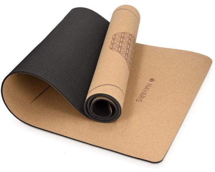 Navaris Non Slip Cork Yoga Mat with Shoulder Strap (44764.18) Στρώμα Γυμναστικής - Brown