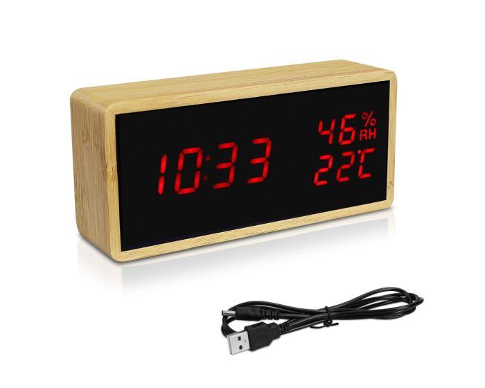 Navaris Digital Alarm Clock (47632.24.09) Επιτραπέζιο Ξύλινο Ρολόι - Μαύρο / Κόκκινο