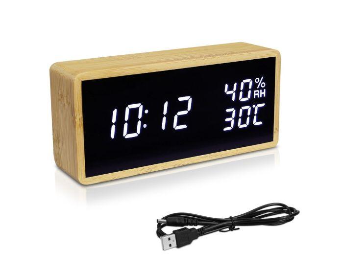 Navaris Digital Alarm Clock (47632.24.02) Επιτραπέζιο Ξύλινο Ρολόι - Μαύρο / Λευκό