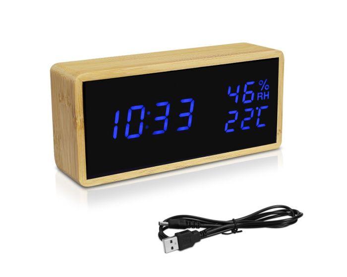 Navaris Digital Alarm Clock (47632.24.04) Επιτραπέζιο Ξύλινο Ρολόι - Μαύρο / Μπλε