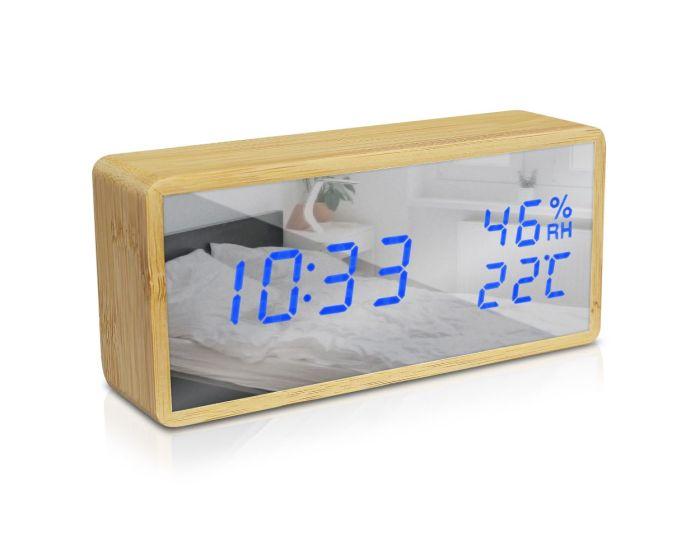 Navaris Digital Alarm Clock (50572.01.04) Επιτραπέζιο Ξύλινο Ρολόι με Καθρέπτη