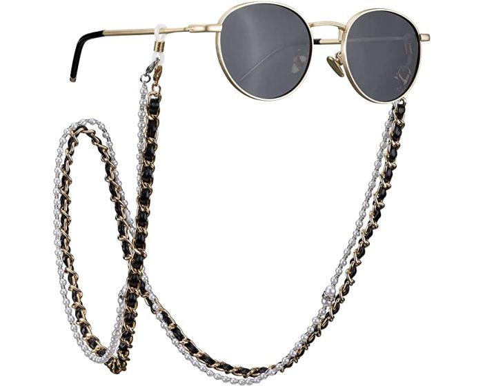 Navaris Gold Glasses Chain (54198.01) Διπλή Αλυσίδα για Γυαλιά - Black / White / Gold