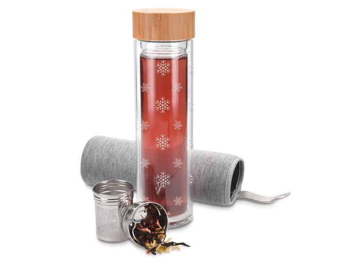 Navaris Double Wall Glass Bottle 500ml (45888.2.04) Γυάλινο Μπουκάλι για Τσάι - Snowflakes