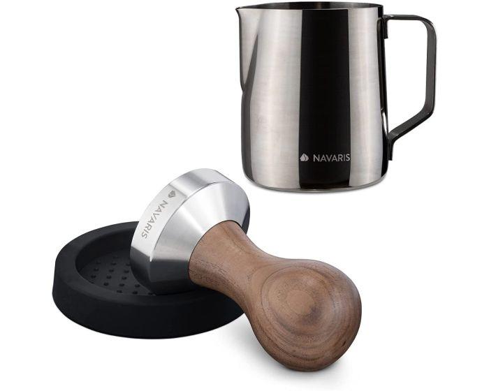 Navaris Espresso Set 3in1 Tamper for Coffee with Wooden Handle 51mm (53238.01.02) with Milk Jug