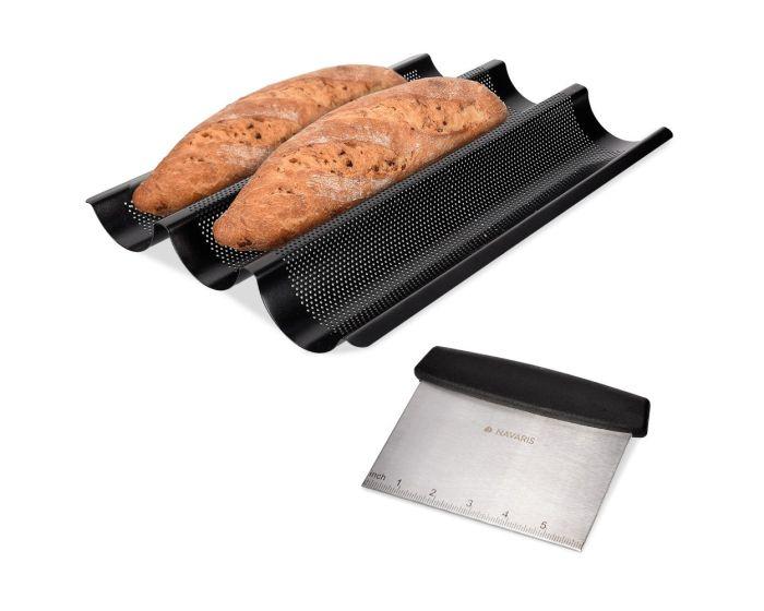 Navaris French Baguette Baking Tray (44750.01) Δίσκος Ψησίματος για Μπαγκέτες από Χάλυβα
