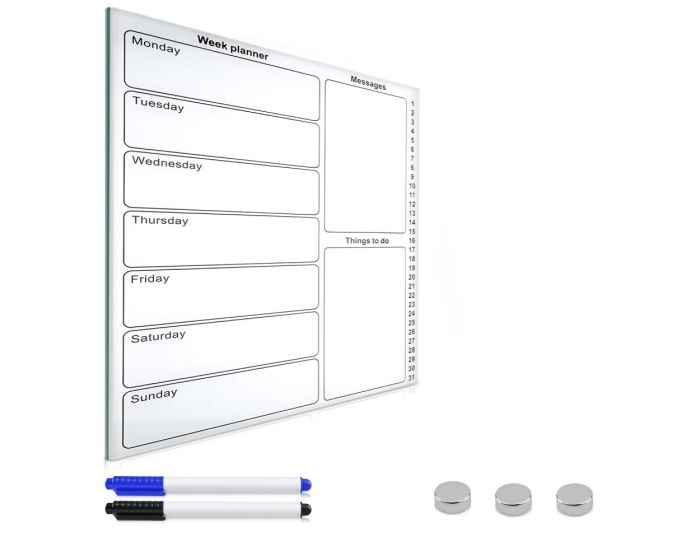 Navaris Magnetic Dry Erase Weekly Planner (43220) Γυάλινος Μαγνητικός Πίνακας Σημειώσεων 50 x 40 White