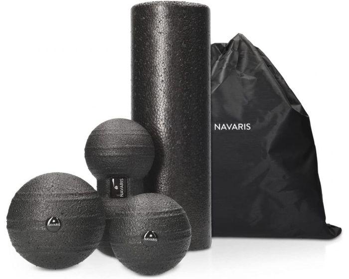 Navaris Massage Ball Roller Set of 4 (46979.04) Σετ Μασάζ Γυμναστικής - Black