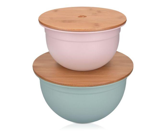 Navaris Metal Mixing Bowls (49209.02.32) 2x Μεταλλικά Δοχεία Φαγητού με Καπάκι από Μπαμπού - Pink / Mint