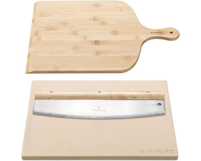Navaris Pizza Stone for Baking + Pizza Peel + Mezzaluna Knife (53326.01) Πέτρινη Πλάκα για Φούρνο + Φτυαράκι + Μαχαίρι 38 x 30cm - Beige