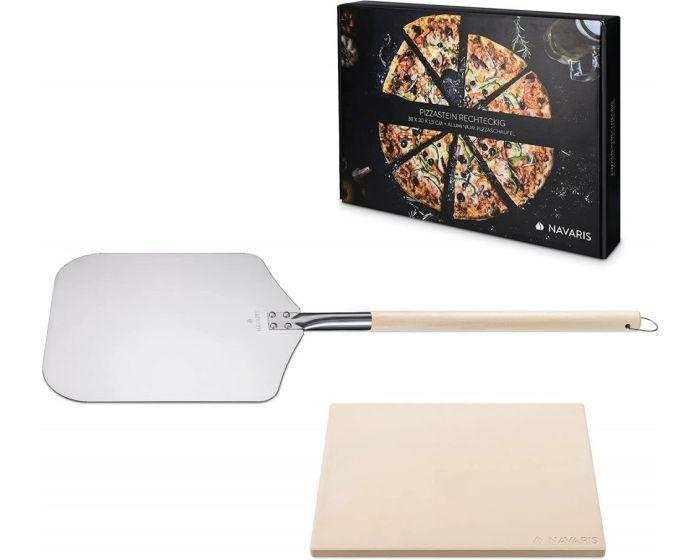 Navaris XL Pizza Stone Set for Baking (48593.02) Πέτρινη Πλάκα για Φούρνο + Φτυάρι Πίτσας 38 x 30 x 1.5cm