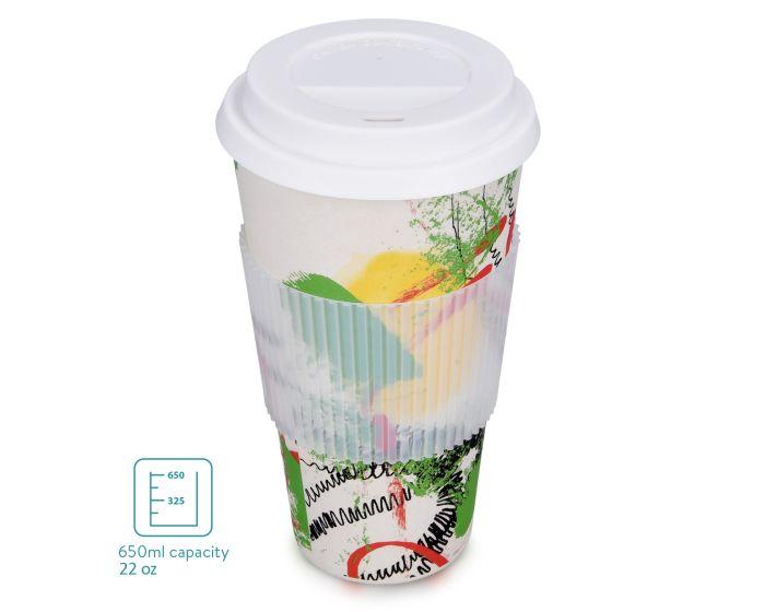 Navaris Reusable Coffee Cup 650ml (47544.2.02) Κούπα Ταξιδίου από Ίνες Μπαμπού