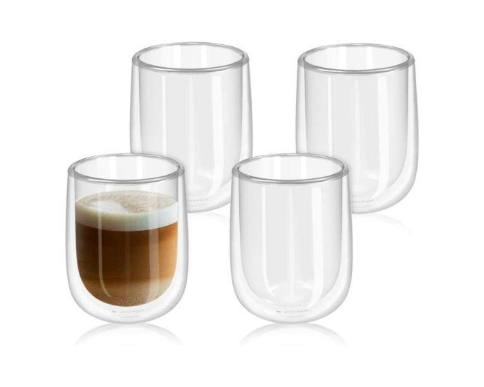 Navaris Set of 4 Double Walled Glass Mugs (47547.01.3) 450ml Κούπες με Διπλά Τοιχώματα Σετ 4 τεμαχίων