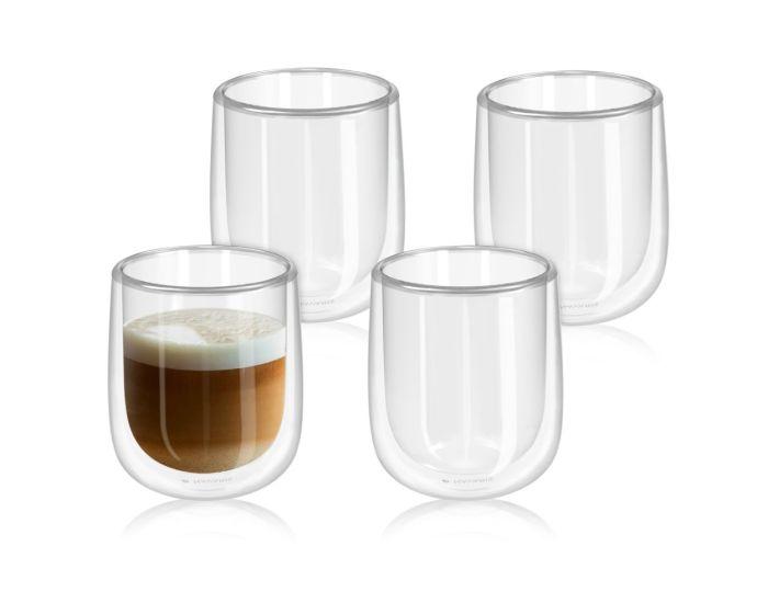 Navaris Set of 4 Double Walled Glass Mugs (47547.01.2) 350ml Κούπες με Διπλά Τοιχώματα Σετ 4 τεμαχίων