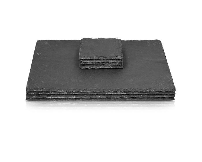 Navaris Slate Coasters and Dish Platters (41701) Δίσκοι Σερβιρίσματος και Σουβέρ από Σχιστόλιθο Σετ 8 τεμαχίων