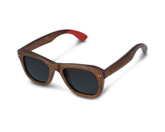 Navaris Wayfarer Unisex Skateboard Wooden Sunglasses (42180.18.01) Ξύλινα Γυαλιά Ηλίου UV400 με Θήκη από Bamboo