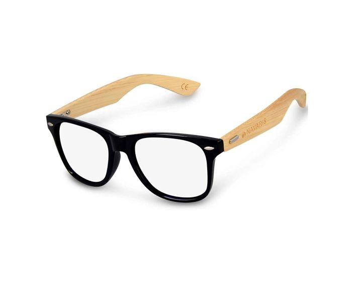 Navaris Wayfarer Unisex Glasses (46156.01) Ξύλινα Γυαλιά με φίλτρο Anti-Blue Light - Black
