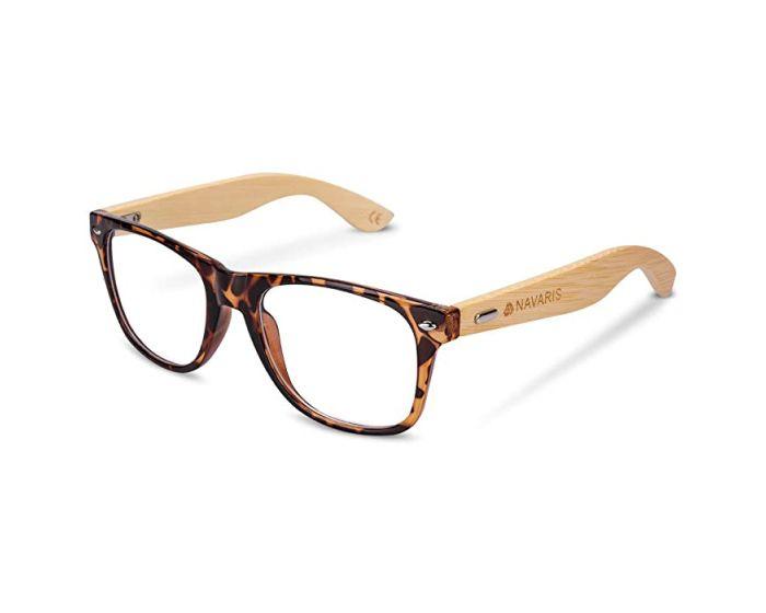Navaris Wayfarer Unisex Glasses (46156.05) Ξύλινα Γυαλιά με φίλτρο Anti-Blue Light - Carey
