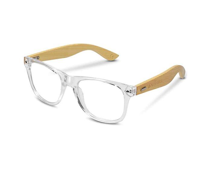 Navaris Wayfarer Unisex Glasses (46156.03) Ξύλινα Γυαλιά με φίλτρο Anti-Blue Light - Clear