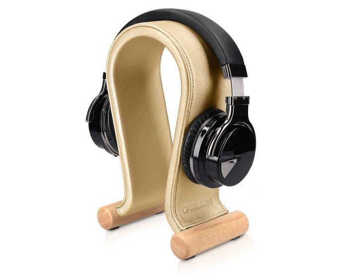 Navaris Omega Headphone Stand Ξύλινη Βάση Στήριξης Ακουστικών με Κάλυμμα από Συνθετικό Δέρμα (48110.21) Χρυσό