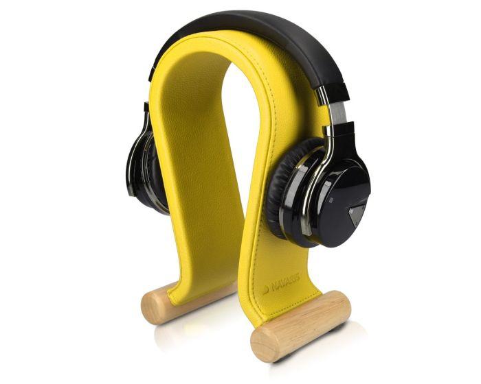 Navaris Omega Headphone Stand Ξύλινη Βάση Στήριξης Ακουστικών με Κάλυμμα από Συνθετικό Δέρμα (48110.06) Κίτρινο