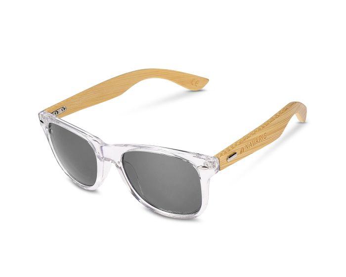 Navaris Wayfarer Unisex Sunglasses (40731.03.22) Ξύλινα Γυαλιά Ηλίου UV400 - Clear