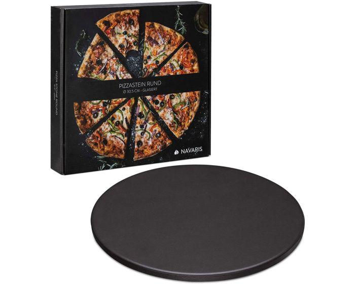 Navaris XL Pizza Stone for Baking (51246.02.3) Πέτρινη Πλάκα για Φούρνο 30.5cm - Black