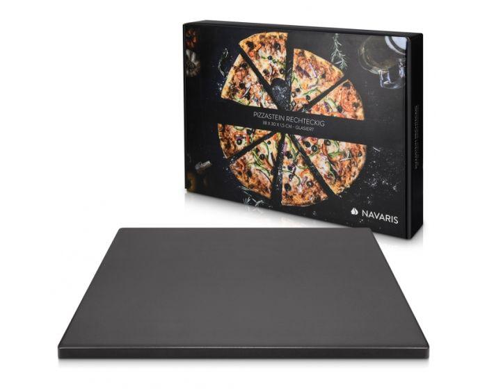 Navaris XL Pizza Stone for Baking (51246.01.3) Πέτρινη Πλάκα για Φούρνο 38 x 30 x 1.5cm - Black