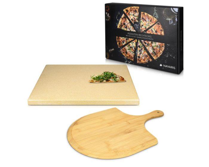 Navaris XL Pizza Stone Set for Baking (48593.01) Πέτρινη Πλάκα για Φούρνο + Pizza Peel 38 x 30 x 1.5cm