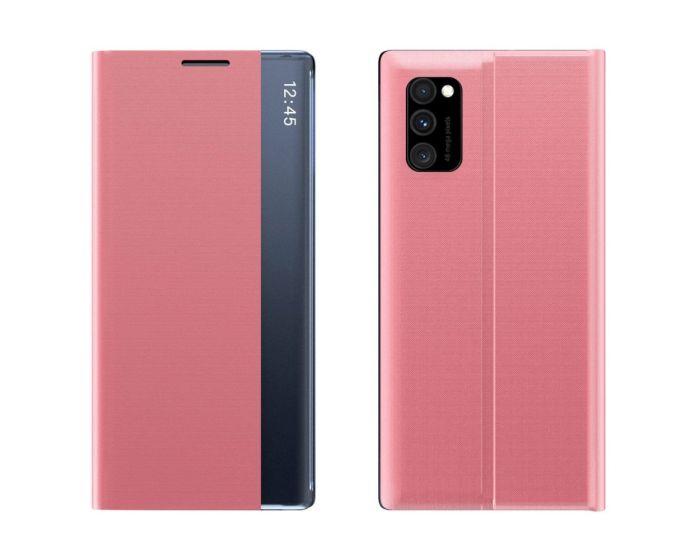 New Sleep Flip Cover Case Θήκη με Ημιδιάφανο Παράθυρο - Pink (Samsung Galaxy S10 Lite)