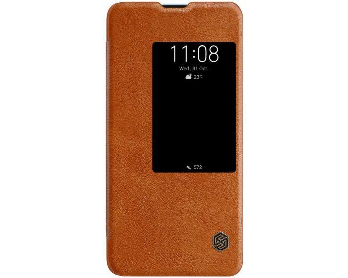 Nillkin Qin High Quality PU Leather Smart Case Δερμάτινη Θήκη με Ενεργό Παράθυρο - Brown (Huawei Mate 20)