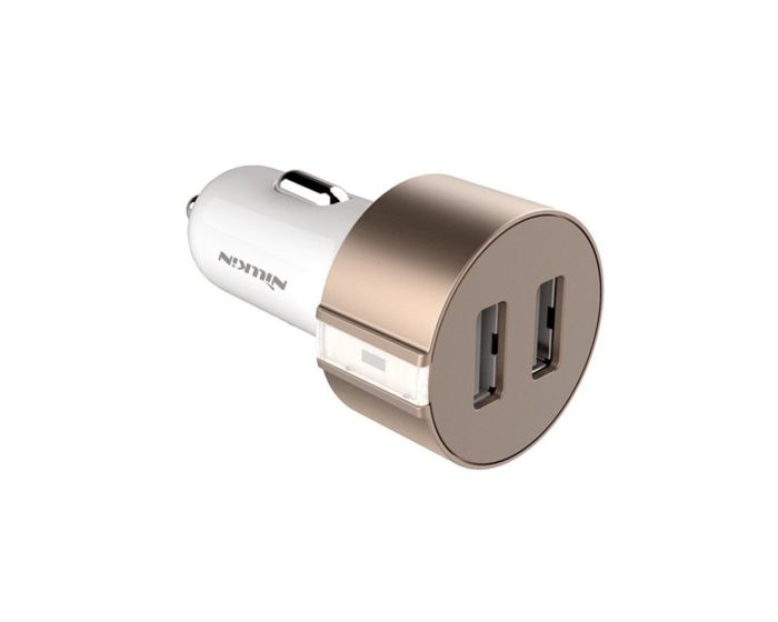 Nillkin Vigor Dual Car Charger - Διπλός Φορτιστής Αυτοκινήτου USB 3.4A - Rose Gold