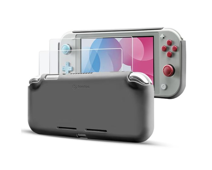 Tomtoc Liquid Silicone Case with 2x Tempered Glass for Nintendo Switch Lite - Grey