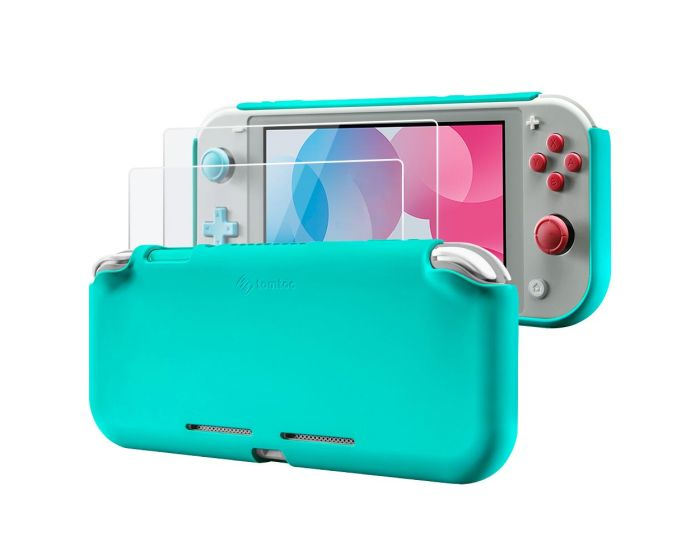Tomtoc Liquid Silicone Case with 2x Tempered Glass for Nintendo Switch Lite - Turquoise