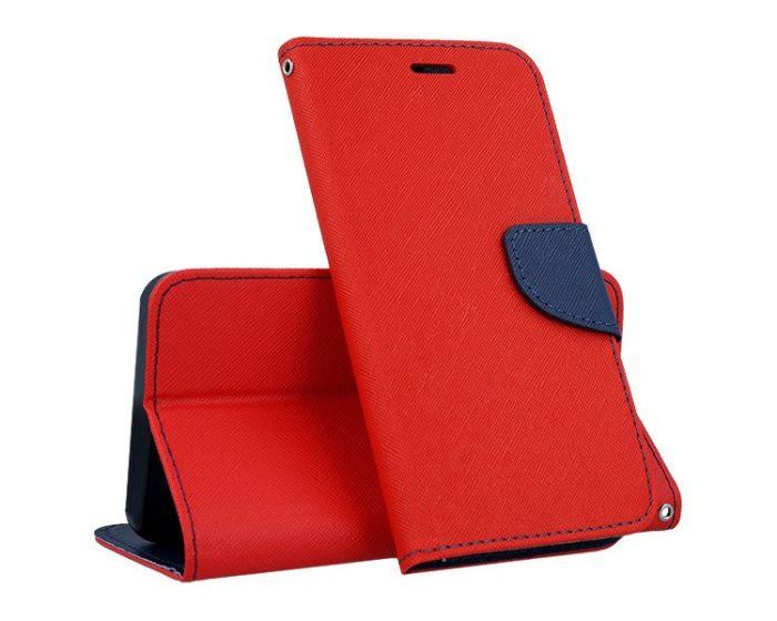 Tel1 Fancy Diary Case Θήκη Πορτοφόλι με δυνατότητα Stand Red / Navy (Nokia 1 Plus)
