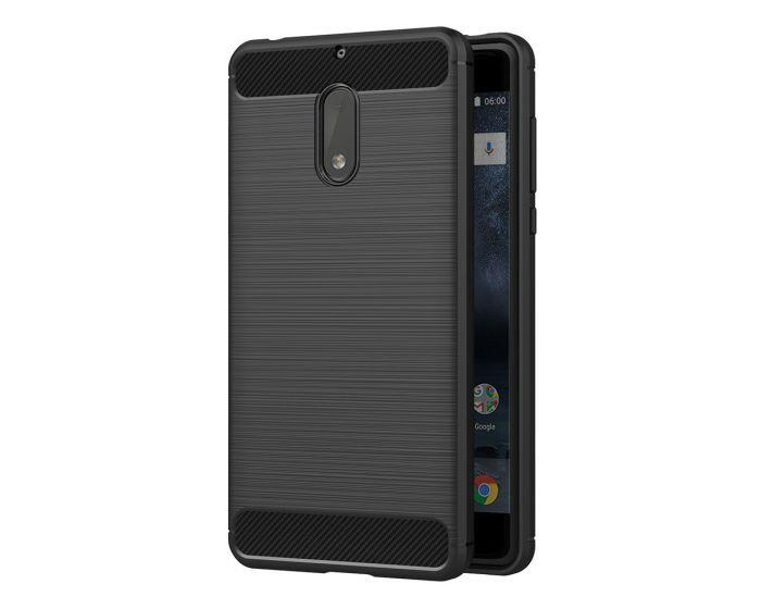 TPU Carbon Rugged Armor Case - Black (Nokia 6)