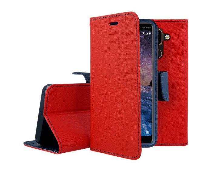 Tel1 Fancy Diary Case Θήκη Πορτοφόλι με δυνατότητα Stand Red / Navy (Nokia 7 Plus)