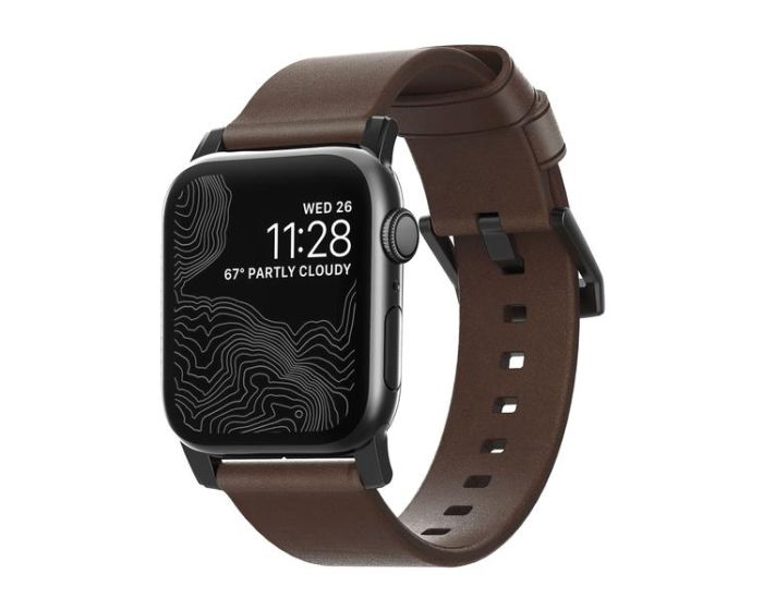 Nomad Modern Leather Strap Δερμάτινο Λουράκι Rustic Brown / Black (Apple Watch 42mm / 44mm)