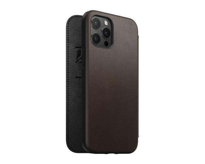Nomad Rugged Folio Horween Leather Case Δερμάτινη Θήκη Rustic Brown (iPhone 12 / 12 Pro)