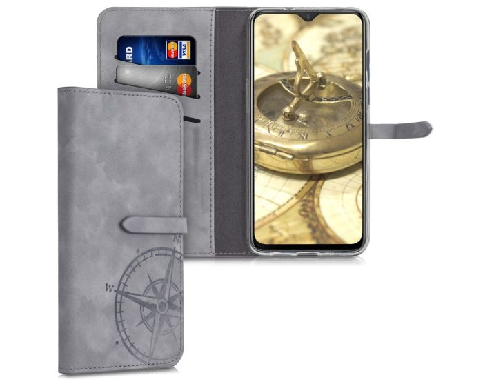 KWmobile Nubuck PU Leather Wallet Case (48582.01) Navigational Compass - Grey (OnePlus 7)