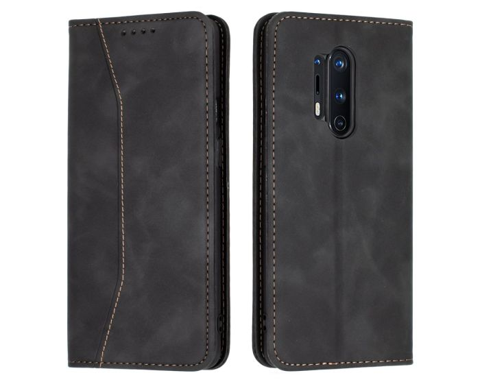 Bodycell PU Leather Book Case Θήκη Πορτοφόλι με Stand - Black (OnePlus 8 Pro)