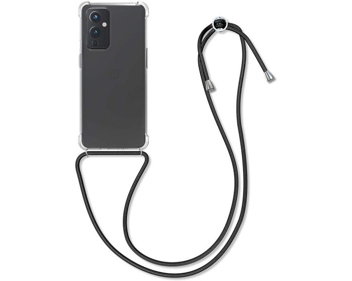 KWmobile Crossbody Silicone Case with Black Neck Cord Lanyard Strap (54436.03) Διάφανη (OnePlus 9)