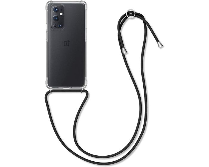 KWmobile Crossbody Silicone Case with Black Neck Cord Lanyard Strap (54437.03) Διάφανη (OnePlus 9 Pro)