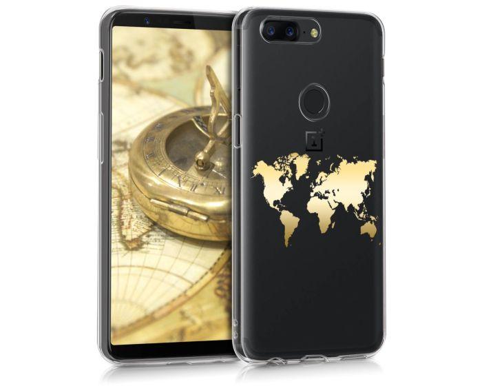 KWmobile Slim Fit Gel Case World Map (43824.01) Θήκη Σιλικόνης Χρυσό / Διάφανη (OnePlus 5T)