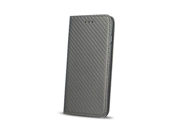 Smart Carbon Book Case με Δυνατότητα Stand - Θήκη Πορτοφόλι Γκρι (Huawei P9 Lite Mini)