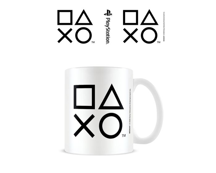 Playstation (Shapes - Black) Mug 315ml Κεραμική Κούπα - White