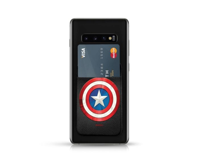 PU Leather Pocket Stickers Αυτοκόλλητη Θήκη Κάρτας για Smartphone - Marvel Captain America Black
