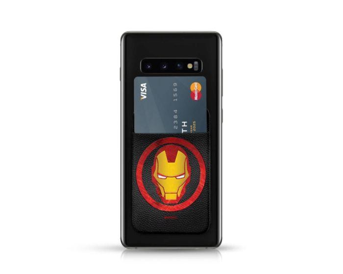 PU Leather Pocket Stickers Αυτοκόλλητη Θήκη Κάρτας για Smartphone - Marvel Iron Man Black