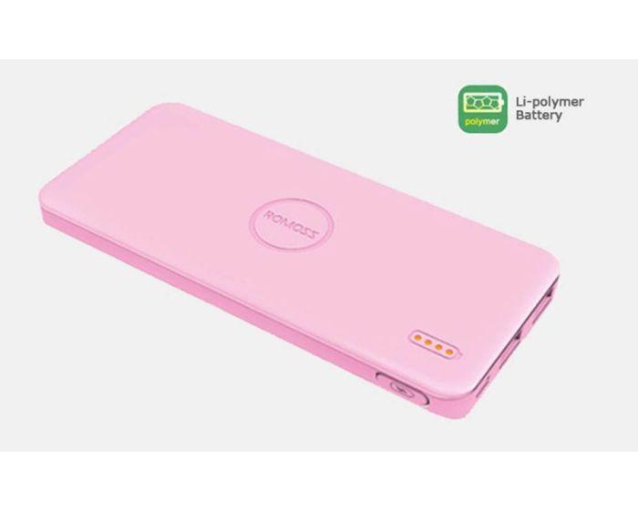 ROMOSS Polymos 5 Εξωτερική Μπαταρία Power Bank Pink 5000mAh (Τεχνολογίας SAMSUNG)