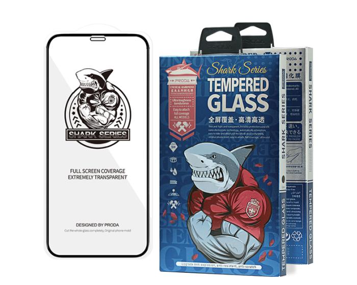 Proda Shark Full Glue Full Face Case Friendly Black Αντιχαρακτικό Γυαλί 9H Tempered Glass (iPhone 12 / 12 Pro)
